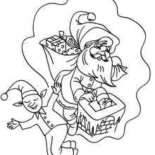 Weihnachtswichtel träumt zum Ausmalen