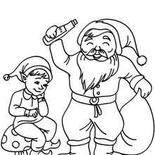 Weihnachtswichtel und Weihnachtsmann zum Ausmalen
