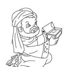 Caspar überreicht Jesus ein Geschenk zum Ausmalen