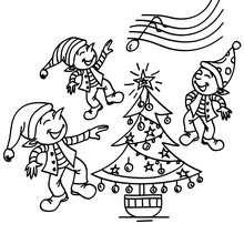 Weihnachtswichtel tanzen zum Ausmalen
