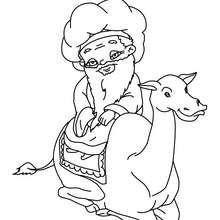 Melchior auf seinem Kamel zum Ausmalen