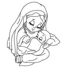 Jesus und Jungfrau Maria zum Ausmalen