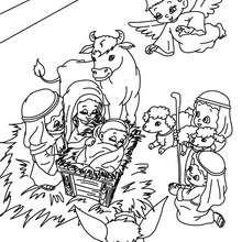Heilige Familie im Stall zum Ausmalen
