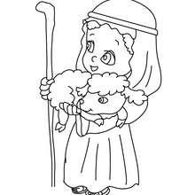 Hirte mit Lamm auf dem Arm zum Ausmalen