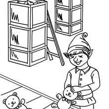 Weihnachtswichtel bauen Puppen in der Weihnachtsmannfabrik zum Ausmalen