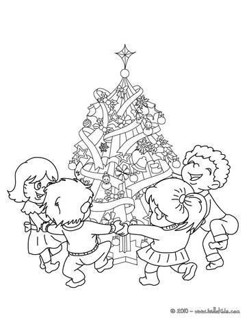 weihnachtsbaum von kindern umringt zum ausmalen zum. Black Bedroom Furniture Sets. Home Design Ideas