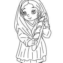 Dorfbewohnerin mit Brot zum Ausmalen