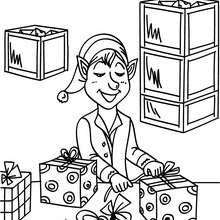 Weihnachtswichtel packen Geschenke ein in der Weihnachtsmannfabrik zum Ausmalen