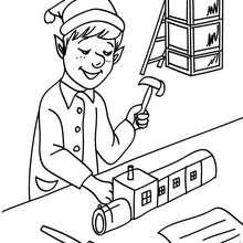 Weihnachtswichtel bauen Holzeisenbahnen in der Weihnachtsmannfabrik zum Ausmalen