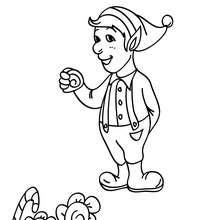 Lustige Weihnachtswichtel stehlen und essen Weihnachtssüßigkeiten zum Ausmalen