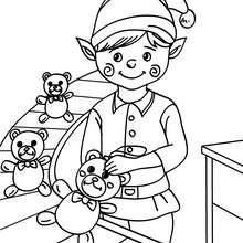 Weihnachtswichtel näht Teddyauge in der Weihnachtsmannfabrik zum Ausmalen