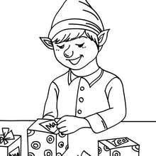 Weihnachtswichtel beschriften Geschenke vor der Lagerung zum Ausmalen