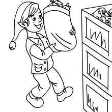 Weihnachtswichtel lagern Geschenke im Weihnachtsmannwarenhaus zum Ausmalen