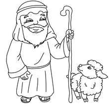 Alter Hirte mit Lamm zum Ausmalen