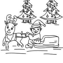 Weihnachtswichtel trainiert das Rentier für die Abfahrt zum Ausmalen