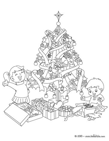 weihnachtsbaum mit geschenken und kindern zum ausmalen zum. Black Bedroom Furniture Sets. Home Design Ideas