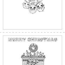 Weihnachtskarte Kamin und Strümpfe zum Ausmalen