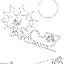 Komet, Rentiere und Schlitten zum Ausmalen