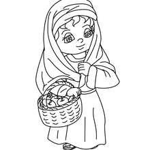 Dorfbewohnerin mit Apfelkorb zum Ausmalen