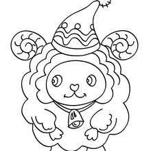 Xmas sheep coloring page - Coloring page - HOLIDAY coloring pages - CHRISTMAS coloring pages - NATIVITY coloring pages - NATIVITY ANIMALS coloring pages