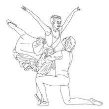 Ballettpaar tanzt eine Porte zum Ausmalen