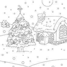 Weihnachtslandschaft im Schnee zum Ausmalen