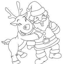 Rudolph und Weihnachtsmann zum Ausmalen