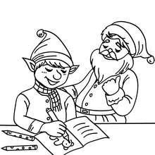 Weihnachtswichtel stellen dem Weihnachtsmann neue Spielzeugprojekte vor zum Ausmalen