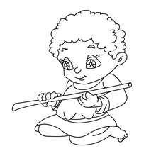 Dorfkind mit Flöte zum Ausmalen