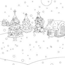 Verschneite Weihnachtslandschaft zum Ausmalen