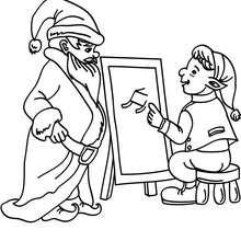 Weihnachtswichtel präsentiert dem Weihnachtsmann ein hochmodernes Schlittenprojekt zum Ausmalen