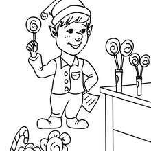 Weihnachtswichtel arbeiten im Süßigkeitenlabor zum Ausmalen