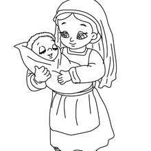 Dorfbewohnerin mit ihren Kindern auf dem Arm zum Ausmalen