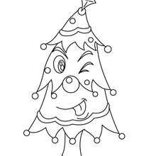 Lustiger Weihnachtsbaum zum Ausmalen