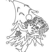Glücklicher Weihnachtsbaum zum Ausmalen