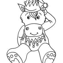 Seated christmas donkey coloring apge - Coloring page - HOLIDAY coloring pages - CHRISTMAS coloring pages - NATIVITY coloring pages - NATIVITY ANIMALS coloring pages