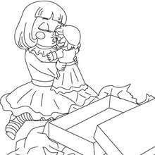 Mädchen mit ihrer Puppe zum Ausmalen