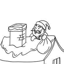 Nikolaus auf einem Dach zum Ausmalen
