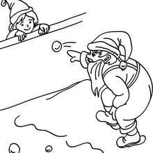 Der Nikolaus wirft mit Schneebällen zum Ausmalen