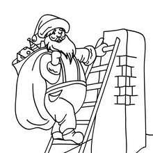 Nikolaus klettert den Schornstein hinauf zum Ausmalen