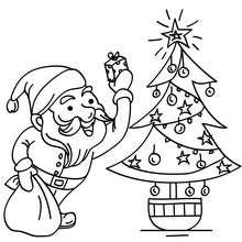 Weihnachtsmann und Weihnachtsbaum zum Ausmalen