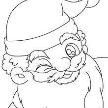 Weihnachtsmann zwinkert zum Ausmalen