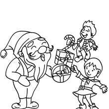 Weihnachtsmann mit Kindern zum Ausmalen