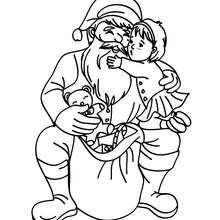 Weihnachtsmann mit einem lieben Kind zum Ausmalen