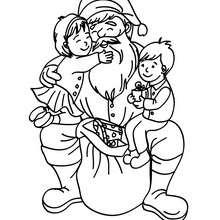 Weihnachtsmann mit glücklichem Mädchen und Jungen zum Ausmalen