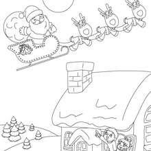 Weihnachtsschlitten mit Rentieren zum Ausmalen