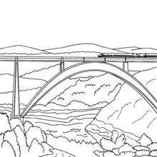 Hochgeschwindigkeitszug überquert eine moderne Hochbrücke zum Ausmalen