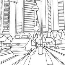 Hochgeschwindigkeitszug inmitten von Hochhäusern zum Ausmalen