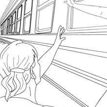 Zugszene Menschen verabschieden sich durch das Fenster zum Ausmalen