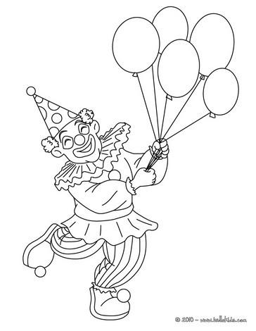 Clown Mit Ballons Zum Ausmalen Zum Ausmalen De Hellokids Com